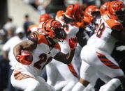 Joe Mixon #28 of the Cincinnati Bengals runs against the Seattle Seahawks in the first quarter at CenturyLink Field on September 8, 2019 in Seattle, Washington. (Photo by Lindsey Wasson/Getty Images)