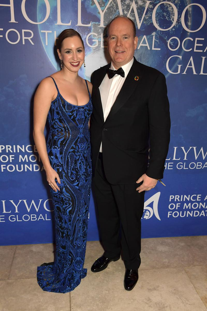 BEVERLY HILLS, CALIFORNIA - FEBRUARY 06: (L-R) Jazmin Grace Grimaldi and Prince Albert II of Monaco attend the 2020 Hollywood For The Global Ocean Gala honoring HSH Prince Albert II of Monaco at Palazzo di Amore on February 06, 2020 in Beverly Hills, California. (Photo by David M. Benett/Dave Benett/Getty Images for Global Ocean Gala)