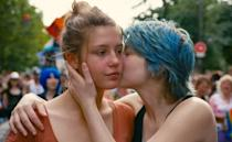 """<p><em>Blue Is the Warmest Color</em> is a <a href=""""https://www.vulture.com/2013/10/timeline-blue-is-the-warmest-color-controversy.html"""" rel=""""nofollow noopener"""" target=""""_blank"""" data-ylk=""""slk:controversial"""" class=""""link rapid-noclick-resp"""">controversial</a> three-hour French romance following Adèle, a 15-year-old obsessed with love. The young girl gets swept up when she meets Emma, a young woman with blue hair, and she begins to explore her sexuality. As they grow together, they face heartbreaking trials neither is equipped to face. Sometimes forgiveness isn't easy and love is just not enough. In 2013, <em>BITWC</em> won the Palme d'Or, the highest possible honor awarded at Cannes Film Festival.</p> <p><a href=""""https://www.netflix.com/title/70275600"""" rel=""""nofollow noopener"""" target=""""_blank"""" data-ylk=""""slk:Watch now on Netflix"""" class=""""link rapid-noclick-resp""""><em>Watch now on Netflix</em></a><em>.</em> </p>"""