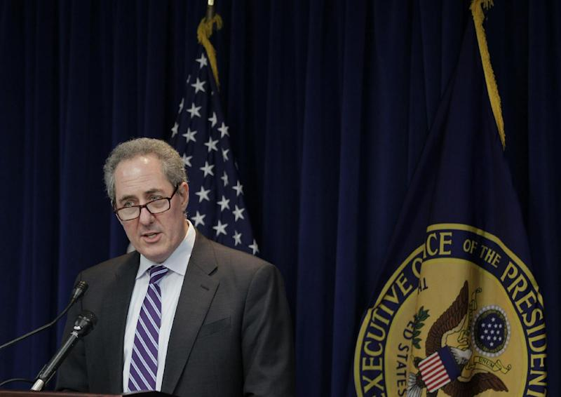 U.S. Trade Representative Michael Froman announces a trade enforcement action related to India, Feb. 10, 2014, during a news conference at the US Trade Representative's office in Washington.(AP Photo/Luis M. Alvarez)
