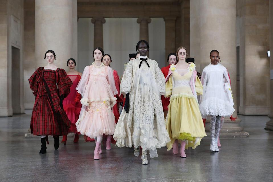 LONDON, ENGLAND - FEBRUARY 16:  In this image released February 19, models walk the runway during the filming of the Bora Aksu digital presentation during London Fashion Week February 2021 at the Tate Britain on February 16, 2021 in London, England.  (Photo by David M. Benett/Dave Benett/Getty Images)