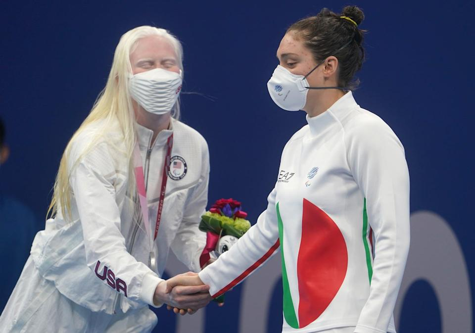 """<p>Before racing, Young's preracing ritual includes coffee, meditation, and, most importantly, talking to other people. She has said that <a href=""""http://olympics.com/tokyo-2020/paralympic-games/en/results/swimming/athlete-profile-n1690669-young-colleen.htm#bio"""" class=""""link rapid-noclick-resp"""" rel=""""nofollow noopener"""" target=""""_blank"""" data-ylk=""""slk:it loosens her up"""">it loosens her up</a> before she enters the water.</p>"""