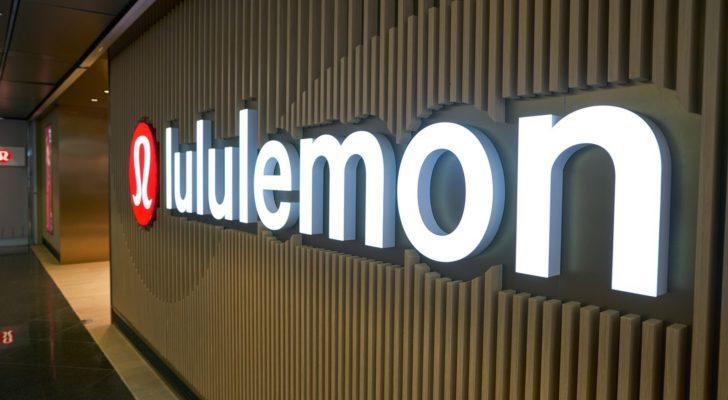 A close-up picture of the Lululemon (LULU) sign in the Hong Kong airport.