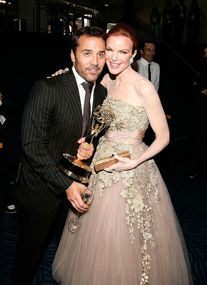 "Marcia Cross congratulated Jeremy Piven on his Emmy win at the Governor's Ball held at the Nokia Theatre in Los Angeles. Mathew Imaging/<a href=""http://www.wireimage.com"" target=""new"">WireImage.com</a> - September 21, 2008"