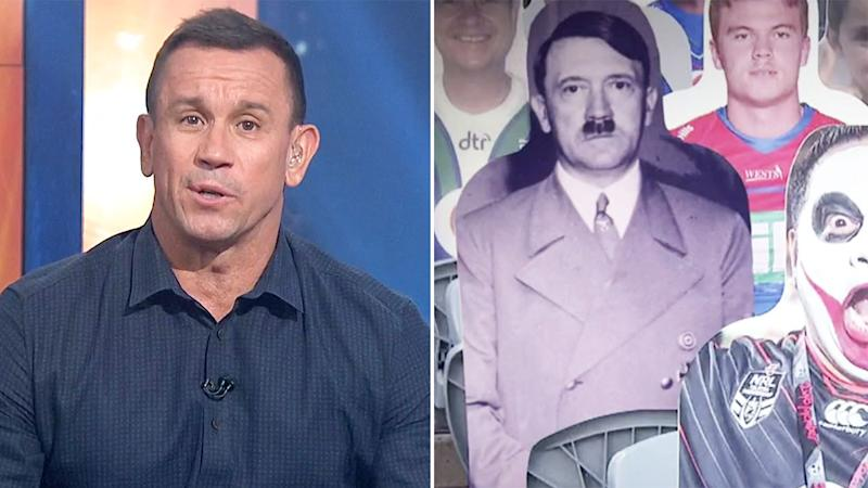 Pictured here, Matty Johns says he's sorry for an ill-conceived gag about Adolph Hitler.