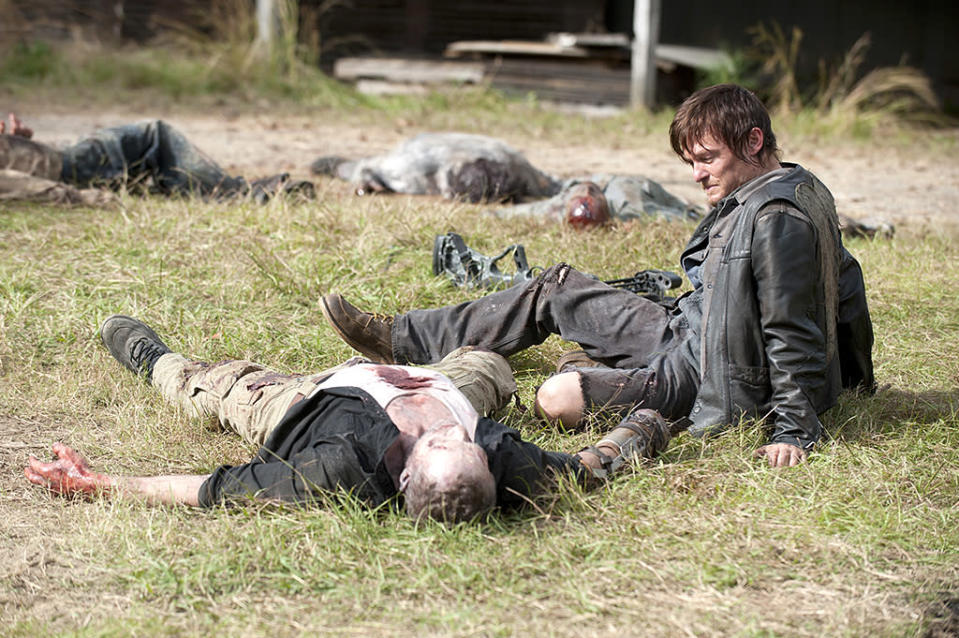 Michael Rooker as Merle Dixon and Norman Reedus as Daryl Dixon in AMC's The Walking Dead.