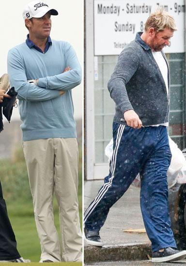 What a change! Shane Warne pictured in 2011 (L) and now (R). Source: Getty/Media Mode
