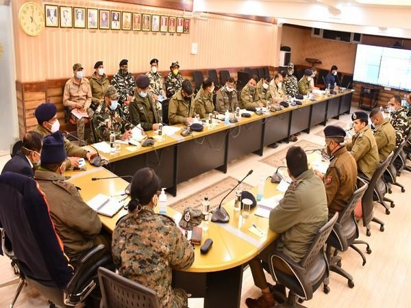Review meeting regarding security plans of DDC election in central Kashmir in session (Photo/ANI)