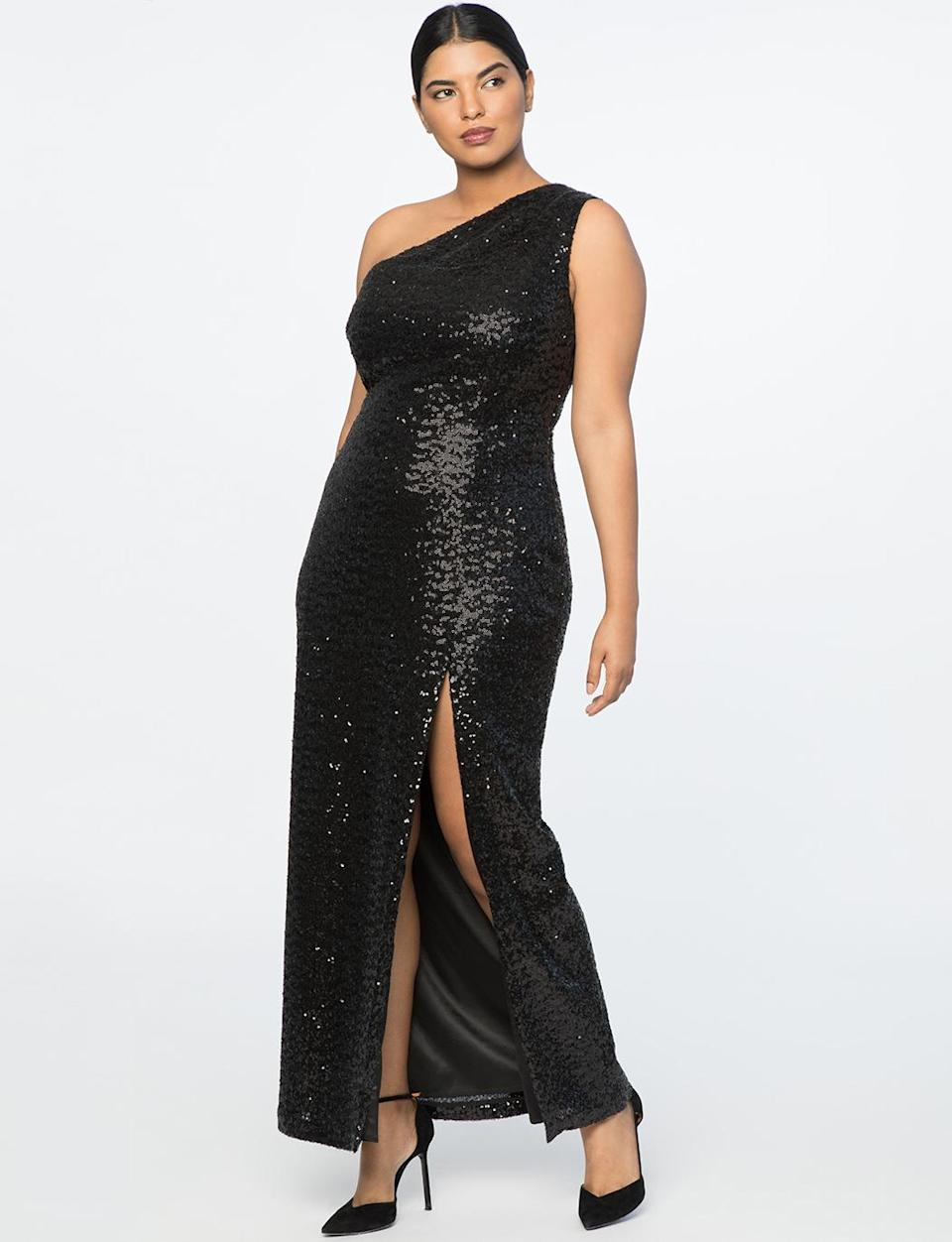 """<p>This black sequined dress with a high slit could easily be seen on an A-list actress, but lucky for you, it's a steal at under $200.<br>One-shoulder sequined gown, $190,<a rel=""""nofollow noopener"""" href=""""https://fave.co/2OjWZrm"""" target=""""_blank"""" data-ylk=""""slk:eloquii.com"""" class=""""link rapid-noclick-resp""""> eloquii.com</a> </p>"""