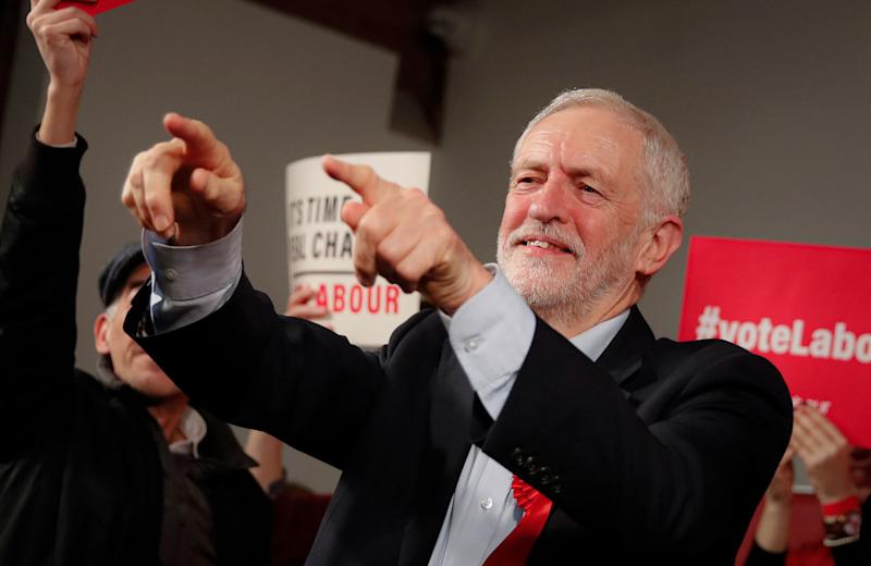 Labour Leader Jeremy Corbyn points his fingers at the end of an eve of poll rally in London, Wednesday, Dec. 11, 2019.  (Photo: ASSOCIATED PRESS)