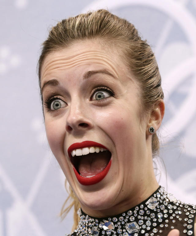 Ashley Wagner of the United States reacts as she waits in the results area after completing her routine in the women's short program figure skating competition at the Iceberg Skating Palace during the 2014 Winter Olympics, Wednesday, Feb. 19, 2014, in Sochi, Russia. (AP Photo/Bernat Armangue)