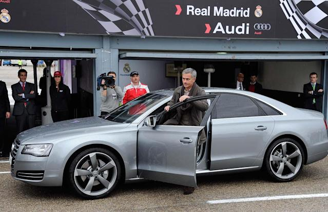 MADRID, SPAIN - NOVEMBER 08: Real Madrid coach Jose Mourinho receives a new Audi at the Jarama recetrack on November 8, 2012 in Madrid, Spain. (Photo by Fotonoticias/WireImage)