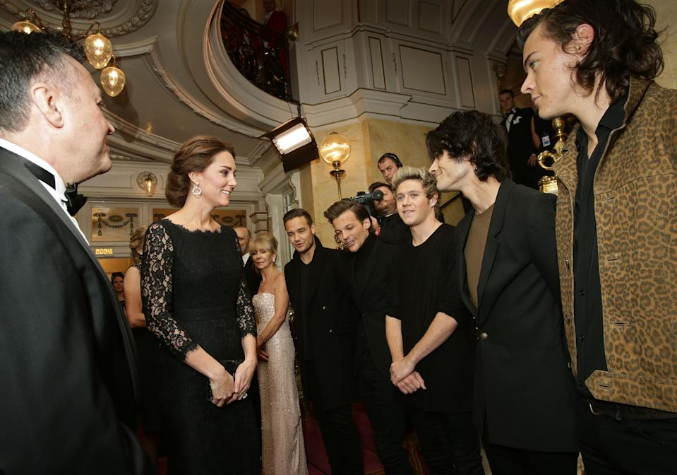 <p>In a moment that excited One Direction fans across the globe, the Duchess of Cambridge met the boy band following the Royal Variety Performance. Harry Styles dressed in a leopard print jacket while his bandmates chose all-black ensembles. <em>[Photo: PA]</em> </p>