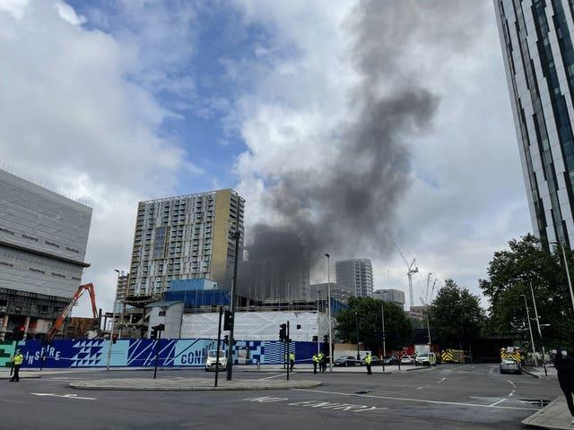 Scene of the fire close to Elephant and Castle railway station