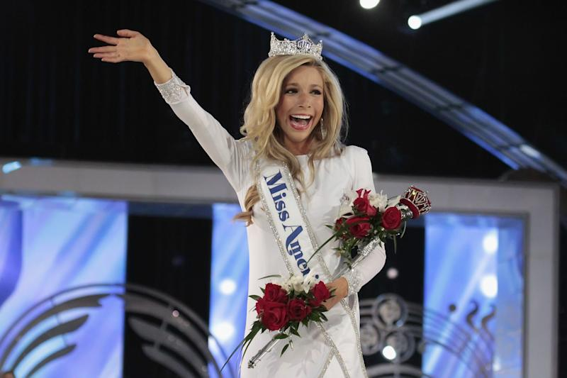 ATLANTIC CITY, NJ - SEPTEMBER 14: Kira Kazantsev, newly crowned Miss America 2015 walks the runway at Atlantic City Boardwalk Hall on September 14, 2014 in Atlantic City, New Jersey. (Photo by Donald Kravitz/Getty Images)