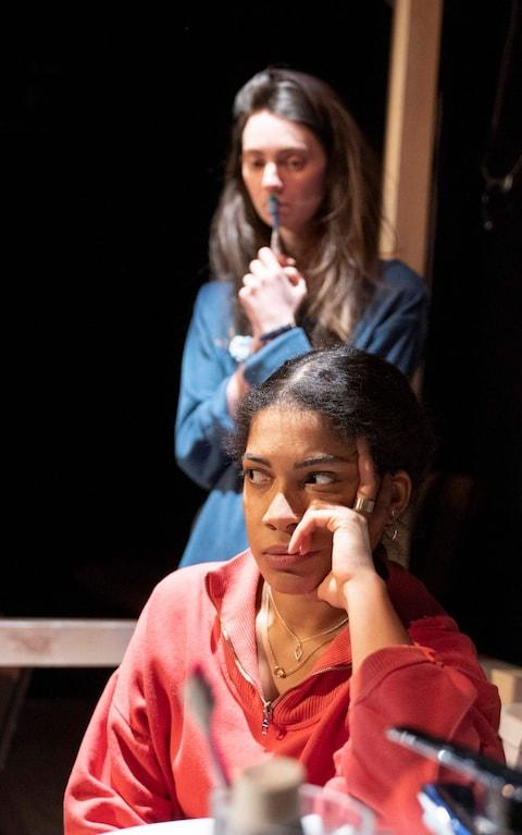 Scathingly funny: Rebekah Murrell as Lou and Tanya Reynolds as Tosh in Scenes with Girls - Credit: Alastair Muir