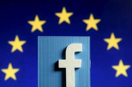 Picture illustration of 3D-printed Facebook logo in front of EU logo