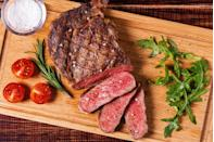 """<p>If you're a meat-eater, you'll be hard-pressed to find a more lock-loving menu addition than lean red meat. """"Grass-fed beef is rich in iron and omega-3 fatty acids, both of which can help thicken hair and make it healthier and more luxurious,"""" says Dr. Youn.</p><p>A <a href=""""https://fdc.nal.usda.gov/fdc-app.html#/food-details/448165/nutrients"""" rel=""""nofollow noopener"""" target=""""_blank"""" data-ylk=""""slk:4-ounce portion"""" class=""""link rapid-noclick-resp"""">4-ounce portion</a> will score you 23 grams of protein, nearly 3 mg of iron, and roughly 6 grams of unsaturated fats.</p>"""