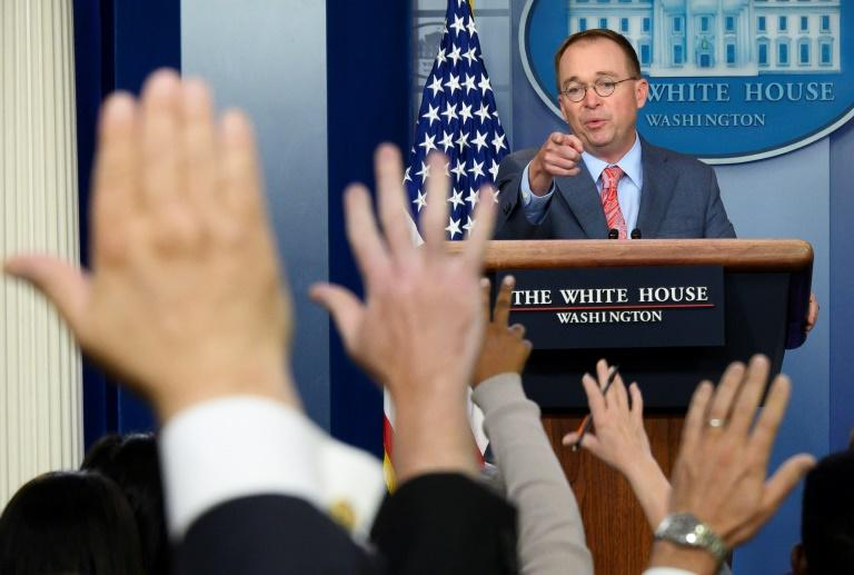 Acting White House chief of staff Mick Mulvaney speaking at a news conference on October 17, 2019, at which he spoke controversially, in remarks he swiftly revised, about why the US withheld aid money to Ukraine