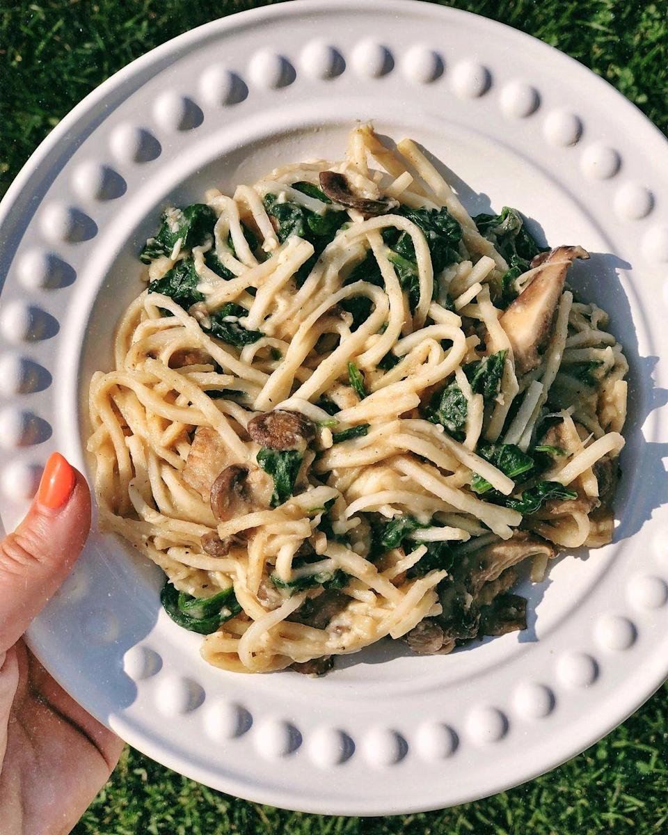 """<p>Calling all keto dieters! Ditch regular noodles for faux pasta made from hearts of palm, which manages to make this feel like a splurge despite the addition of uber-healthy spinach and mushrooms.</p><p><em><a href=""""https://hungry-blonde.com/keto-creamy-mushroom-pasta/"""" rel=""""nofollow noopener"""" target=""""_blank"""" data-ylk=""""slk:Get the recipe from the Hungry Blonde »"""" class=""""link rapid-noclick-resp"""">Get the recipe from the Hungry Blonde »</a></em><br></p><p><strong>RELATED: </strong><a href=""""https://www.goodhousekeeping.com/health/diet-nutrition/a32678350/14-day-keto-diet-meal-plan/"""" rel=""""nofollow noopener"""" target=""""_blank"""" data-ylk=""""slk:A 14-Day Keto Meal Plan to Get You Started"""" class=""""link rapid-noclick-resp"""">A 14-Day Keto Meal Plan to Get You Started</a></p>"""