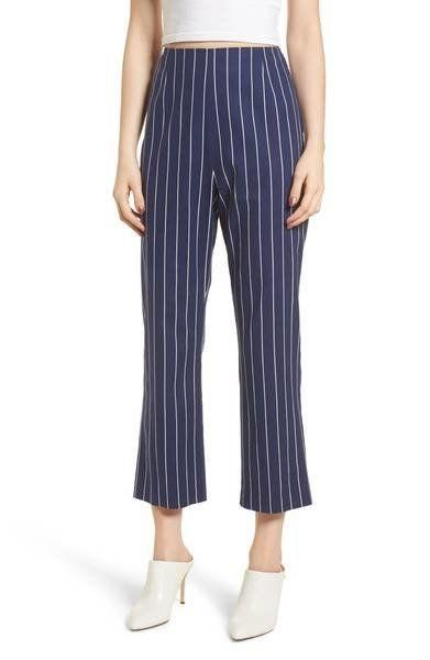 "Get them at <a href=""https://shop.nordstrom.com/s/wayf-pisa-high-waist-crop-pants/4832036?origin=keywordsearch-personalizedsort&fashioncolor=NAVY%20STRIPE"" target=""_blank"">Nordstrom</a>, $69."
