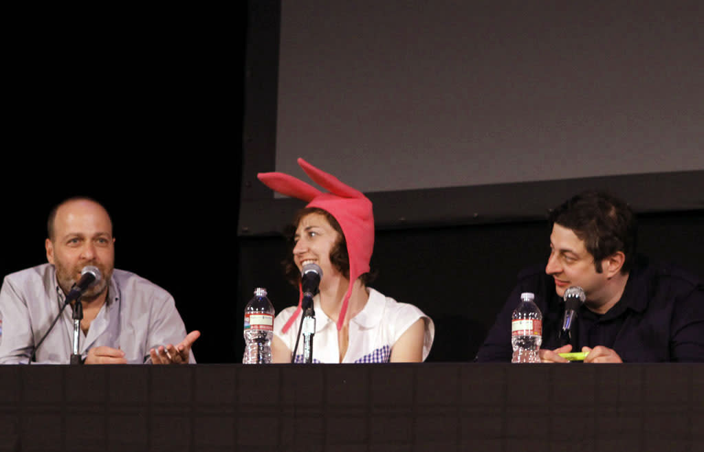 """Cast members H. Jon Benjamin, Kristen Schaal and Eugene Mirman on stage during """"Bob's Burgers Live!"""" at the WIlshire Ebell Theatre on Tuesday, May 7 in Los Angeles, CA."""