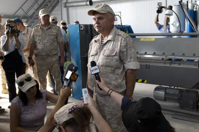Yevgeny Gushchin, director of the shipyard at the Russian naval facility speaks to foreign journalists in Tartus, Syria, Thursday, Sept. 26, 2019. Russia has a naval base in Tartus, the only such facility it has outside the former Soviet Union. (AP Photo/Alexander Zemlianichenko)