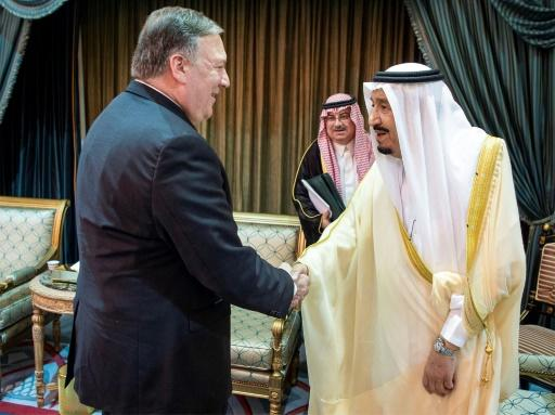Saudi Arabia's King Salman shakes hands with US Secretary of State Mike Pompeo in the capital Riyadh on April 29, 2018
