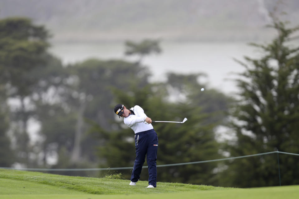 Yuka Saso, of the Philippines, hits from the second fairway during the second round of the U.S. Women's Open golf tournament at The Olympic Club, Friday, June 4, 2021, in San Francisco. (AP Photo/Jed Jacobsohn)