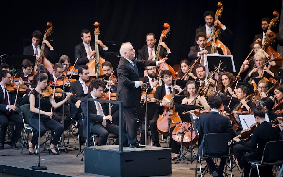conducting the West-Eastern Divan Orchestra in Berlin