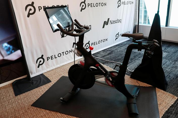 A Peloton exercise bike is seen after the ringing of the opening bell for the company's IPO at the Nasdaq Market site in New York City, New York, U.S., September 26, 2019. REUTERS/Shannon Stapleton