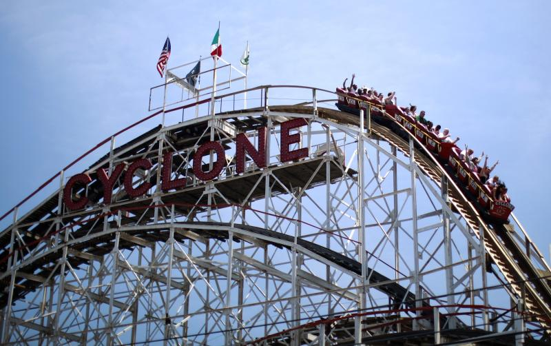 File photo of people riding the Cyclone roller coaster at Coney Island in the Brooklyn borough of New York