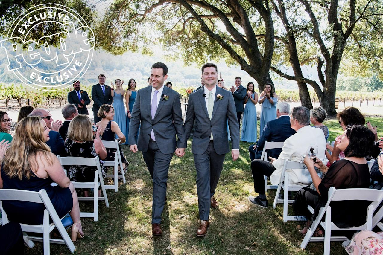 """The couple, who wore matching gray J. Crew suits (accented with colored ties that symbolized their alma mater – Benson in lavender for Northwestern and Wise in sage green for Colorado State), said their """"I dos"""" in front of about 150 of their closest friends and family members."""