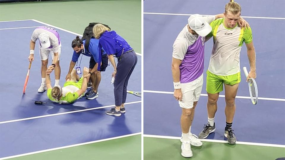 Spain's Alejandro Davidovic Fokina was helped from the court by Argentina's Marco Trungelliti after cramping up in the fifth set of their first round match at the US Open. Pictures: Twitter