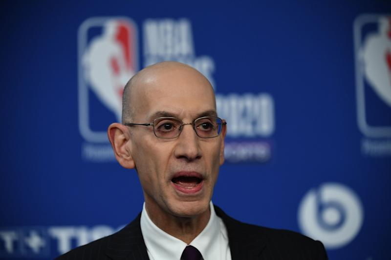NBA commissioner Adam Silver gestures as he addresses a press conference ahead of the NBA basketball match between Milwaukee Bucks and Charlotte Hornets at The AccorHotels Arena in Paris on January 24, 2020. (Photo by FRANCK FIFE / AFP) (Photo by FRANCK FIFE/AFP via Getty Images)