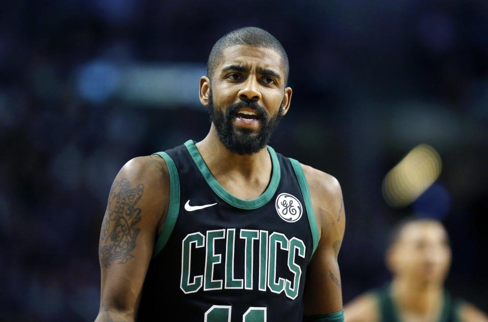 "<a class=""link rapid-noclick-resp"" href=""/nba/players/4840/"" data-ylk=""slk:Kyrie Irving"">Kyrie Irving</a> takes joy in marketing false science to his young fans. (AP)"