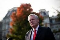 White House Chief of Staff Mark Meadows speaks to reporters following a television interview, outside the White House
