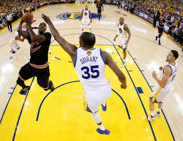 Kevin Durant has played excellent defense in the first two games of the NBA Finals. (AP)