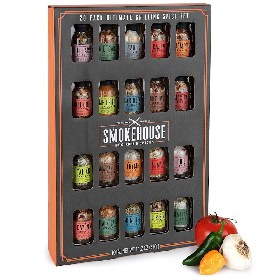 """<h2>Smokehouse Ultimate Grilling Spice Set</h2><br>Spark up that grill and get ready for flavor because this spice set has every seasoning you could ever wish for. <br><br><strong><em><a href=""""https://www.amazon.com/stores/Thoughtfully/page/0AEBBB1F-90AA-4F01-8705-064DEDE4C6AE?ref_=ast_bln"""" rel=""""nofollow noopener"""" target=""""_blank"""" data-ylk=""""slk:Shop Amazon"""" class=""""link rapid-noclick-resp"""">Shop Amazon</a></em></strong> <br><br><strong>Thoughtfully</strong> Smokehouse Ultimate Grilling Spice Set, $, available at <a href=""""https://www.amazon.com/Thoughtfully-Smokehouse-Ultimate-Grilling-Seasoning/dp/B083C4TBT5"""" rel=""""nofollow noopener"""" target=""""_blank"""" data-ylk=""""slk:Amazon"""" class=""""link rapid-noclick-resp"""">Amazon</a>"""