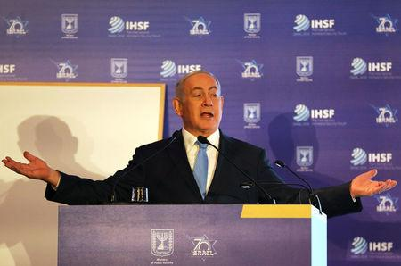 Israeli Prime Minister Benjamin Netanyahu gestures as he speaks during the International Homeland Security Forum conference in Jerusalem, June 14, 2018. REUTERS/Ammar Awad