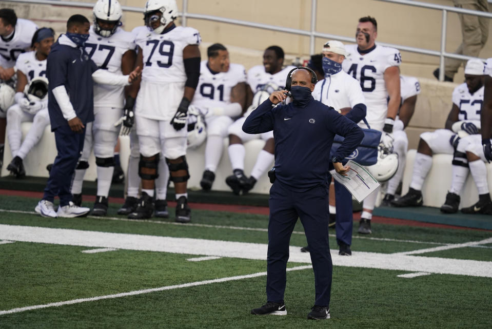 Penn State head coach James Franklin watches during the second half of an NCAA college football game against Indiana, Saturday, Oct. 24, 2020, in Bloomington, Ind. Indiana won 36-35 in overtime. (AP Photo/Darron Cummings)