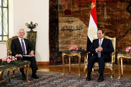 Egypt's President Sisi welcomes U.S. Defense Secretary Mattis at the Ittihadiya presidential palace in Cairo