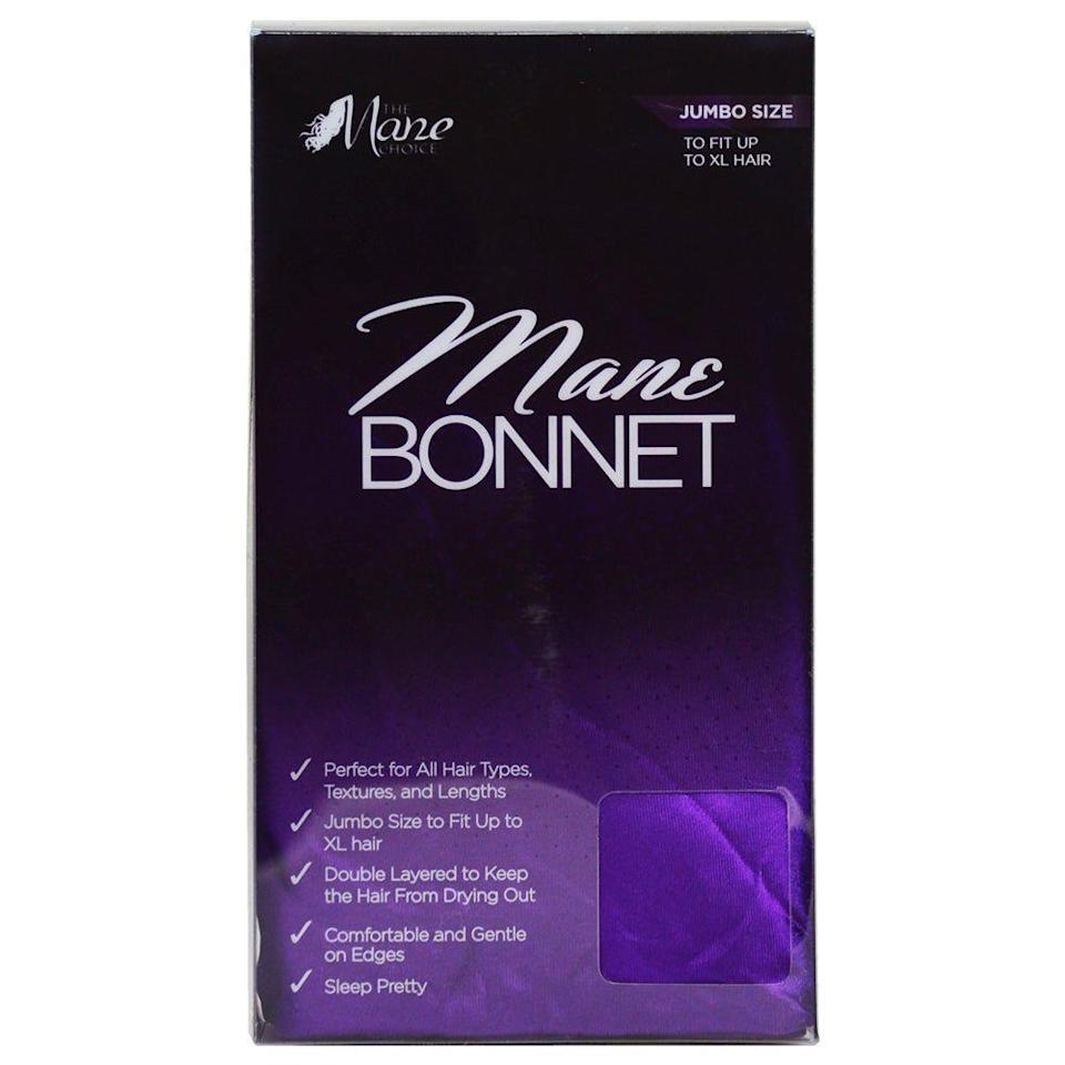 "<p><strong>The Mane Choice</strong></p><p>themanechoice.com</p><p><strong>$12.99</strong></p><p><a href=""https://themanechoice.com/products/mane-bonnet#tab-1"" rel=""nofollow noopener"" target=""_blank"" data-ylk=""slk:SHOP"" class=""link rapid-noclick-resp"">SHOP</a></p><p>Taylor's personal pick is this one from The Mane Choice. ""I love it. It comes in a Jumbo Size for those who have longer hair,"" she says. ""If you have longer hair, it's best to get a bigger bonnet so all the hair can fit inside. You also want to make sure that the inner part of the bonnet is silk or satin."" This one is 100% satin and double-layered to keep hair fresh, shiny, and protected. </p>"
