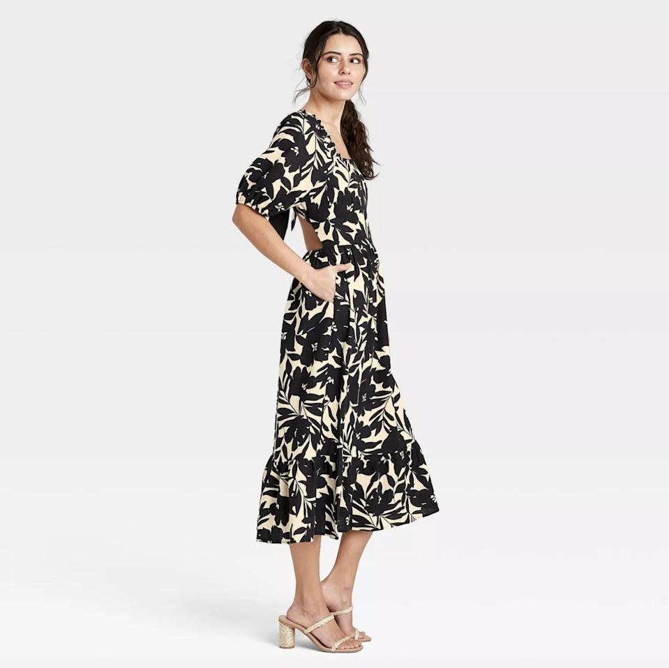 <p>The back details of this <span>Who What Wear Puff Elbow Sleeve Open Back Dress</span> ($34, originally $40) make it even more elegant.</p>