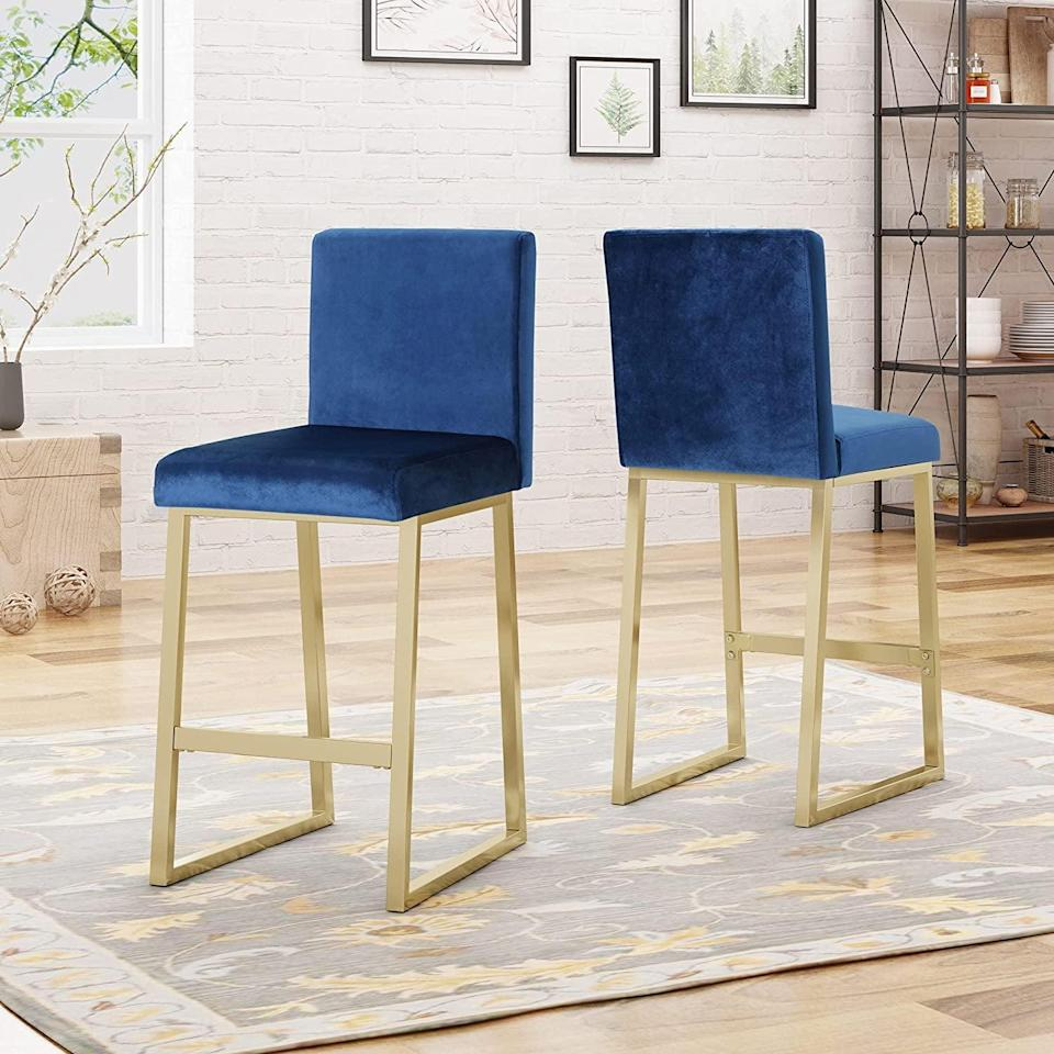 <p>Itching to host people again? Spice up your kitchen with these eye-catching <span>Christopher Knight Home Lexi Modern Velvet Barstools</span> ($203, originally $241), which will be sure to spark conversations.</p>