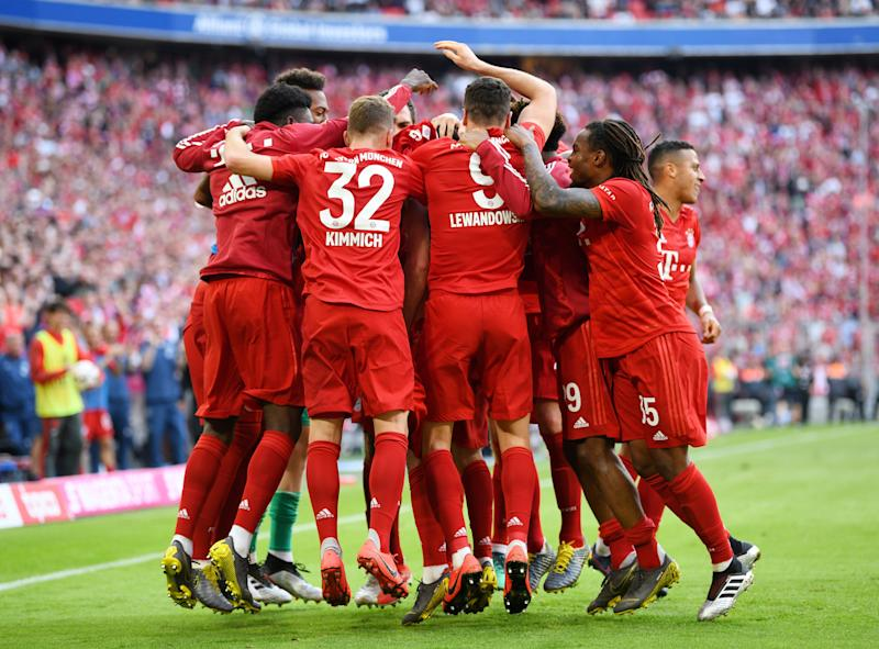 Soccer Football - Bundesliga - Bayern Munich v Eintracht Frankfurt - Allianz Arena, Munich, Germany - May 18, 2019 Bayern Munich's Franck Ribery celebrates scoring their fourth goal with team mates REUTERS/Andreas Gebert DFL regulations prohibit any use of photographs as image sequences and/or quasi-video