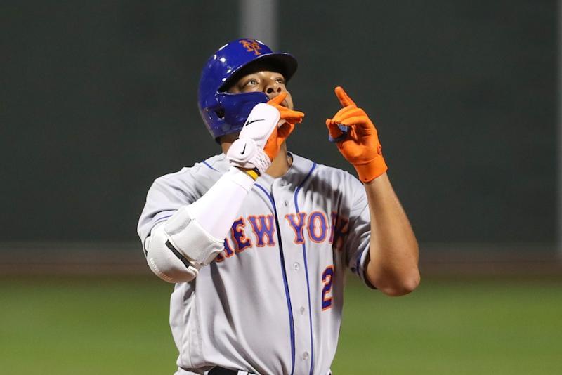Dominic Smith celebrates after home run at Fenway Park