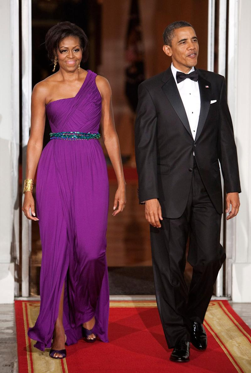 For a state dinner with the president and first lady of South Korea in 2011, the former FLOTUS chose a striking purple gown by Korean-American designer Doo-Ri Chung.