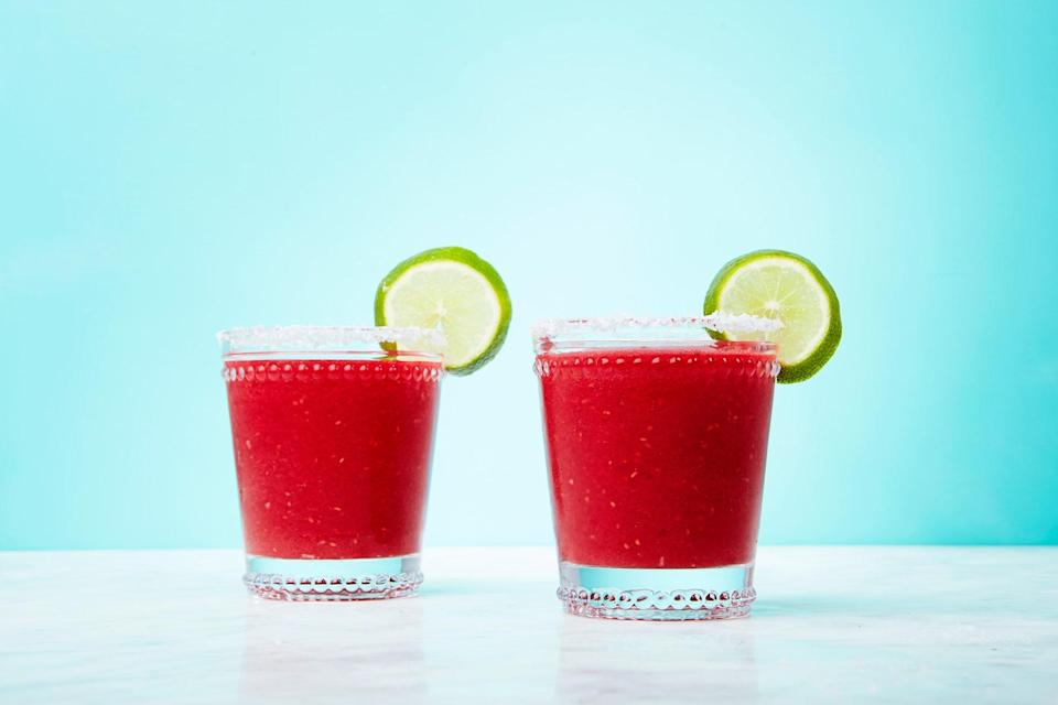 "Add sweet-tart flavor and a hint of spice to a slushy margarita with frozen raspberries and grated fresh ginger. <a href=""https://www.epicurious.com/recipes/food/views/frozen-raspberry-ginger-margarita?mbid=synd_yahoo_rss"" rel=""nofollow noopener"" target=""_blank"" data-ylk=""slk:See recipe."" class=""link rapid-noclick-resp"">See recipe.</a>"