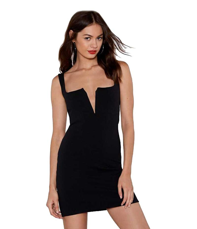 V cut little black dress.